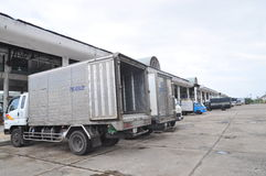Many truck are parking at the Hon Ro seaport in Nha Trang city waiting for fisheries to the seafood factory Stock Photos