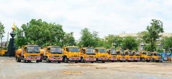 Many trucks parking at Chinatown, Bangkok Royalty Free Stock Image