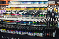 Many tubes of professional tattoo paint Stock Images