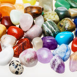 Many tumbled natural mineral gemstones Stock Photography