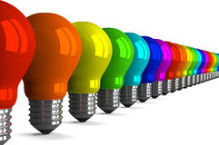 Many tungsten light bulbs of rainbow colors, perspective view Stock Photography