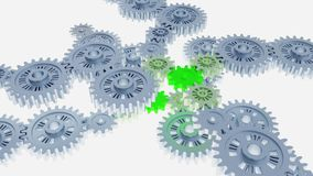 Many Turning Grey Gears gathering themself with some green small gears. On a white background stock illustration