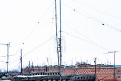 Many TV antennas Stock Images