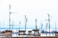Many TV antennas Royalty Free Stock Photo
