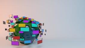 Many tv screens surrounding the globe stock illustration