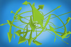 Many twisting green arrows on a blue background Royalty Free Stock Photo