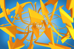 Many twisting orange arrows on a blue background Stock Images