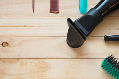 Many type of comb with hair dryer Royalty Free Stock Photos