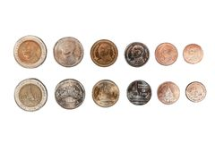 The collection of Thai coin that consist of 10, 5, 2, 1 , 0.50, 0.25 baht value front and back side on perfectly isolated white. Background royalty free stock image