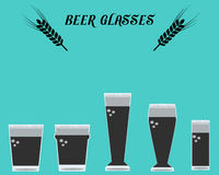 Many types of beer Glasses01 Royalty Free Stock Images