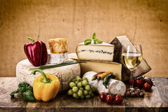Many types of french cheese Royalty Free Stock Photos