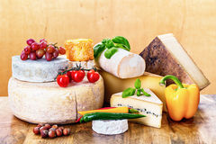 Many types of french cheeses. With basil, tomatoes and peppers - ossau-iraty, langres, tomme de chevre, rondin de brebis, camembert, morbier, comte, vieux royalty free stock photos