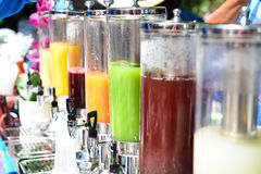 Many types of fruit juices on the beach. Thailand Royalty Free Stock Image