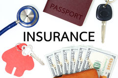 Many types of insurance with money Royalty Free Stock Images