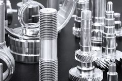 Many types of metal details industrial design background royalty free stock images