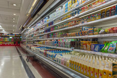 Many types of milk and dairy products Stock Images