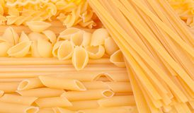 Many types of pasta. Background royalty free stock photography
