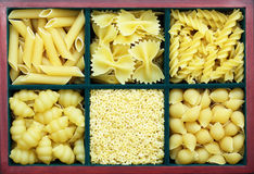 Many types of pasta. In a wooden box Stock Photo