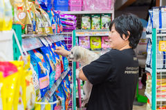 Many types of pet food in pet shop Stock Images