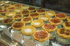 Many types of pie in a pastry shelf. In Seoul, South korea stock photos