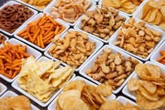 Many types of savoury snacks Stock Images