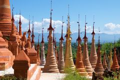 Many types of stupas built in Indein Village, Myanmar. Many various types of stupas built in Indein Village, Myanmar Stock Photo