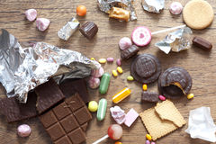 Many types of sweets Stock Photo