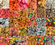 Many types of sweets. And snacks. 30 photos showing many different candies Stock Image