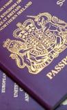 Many Uk Passports. Macro shot Stock Image