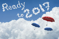 Many umbrella floating above against Blue sky and cloud.Sunny day.Cloudscape.close up the cloud.text ready to 2017.end of the 2016. Year concept.get ready to Stock Photo