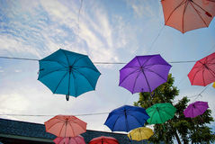 Many umbrella. Hang in the sky Stock Images