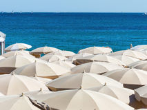 Many umbrellas on the beach Royalty Free Stock Images