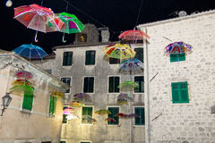 Many umbrellas flying in the air Royalty Free Stock Photos