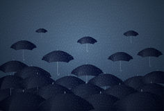 Many Umbrellas Under Rain Storm Business Problem Concept Royalty Free Stock Photos