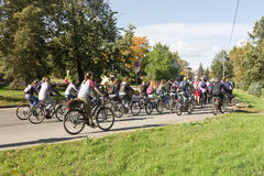 Many unidentified people on bicycles involved in urban cycling holiday Royalty Free Stock Photography