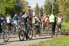 Many unidentified people on bicycles involved in urban cycling holiday, with their back Stock Images