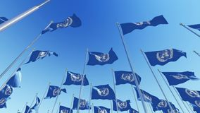 Many United Nations flags on flagpoles against blue sky. Three dimensional rendering 3D animation stock video footage