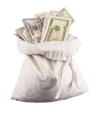 Many US dollar bills or notes with money bags Stock Image