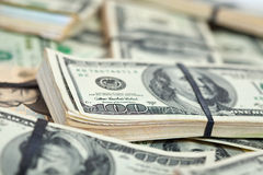 Many US dollars banknotes Royalty Free Stock Photography