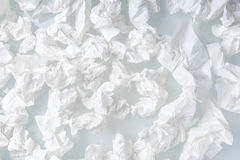 Many used screwed paper tissue white background stock photos