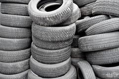 Many used tyres stock photography