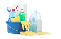 Many Useful Household Daily Cleaning Products Royalty Free Stock Photography
