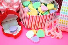 Many Valentine gift boxes Stock Photo