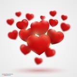 Many Valentine's hearts Stock Photo