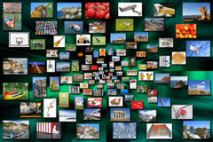 A many variety of photos as background Stock Image