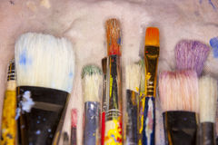 Many various artists brushes Royalty Free Stock Image