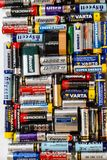 Many various batteries and accumulators, Hemer, Germany - 20 May 2017. Many various batteries and accumulators are lined up. Some of them are old Stock Photos