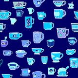 Many various design cup of tea or coffee doodle drawing pattern seamless porcelain blue ton. E and blue color background Royalty Free Stock Photos