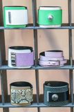 Many various leather and textile bracelets. Leather multi-colored bracelets in the shop. vertical photon. Many various leather and textile bracelets. Leather stock image