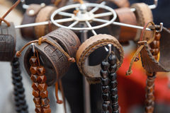 Many various leather and textile bracelets. At the street market royalty free stock images